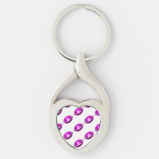 Modelo púrpura del fútbol llavero plateado en forma de corazón
