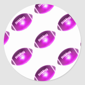 Modelo púrpura del fútbol pegatina redonda