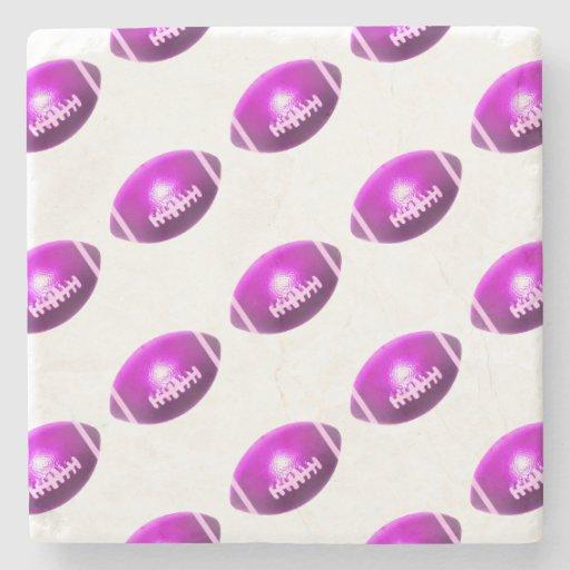 Modelo púrpura del fútbol posavasos de piedra