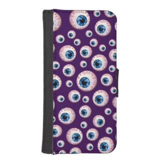Modelo púrpura del globo del ojo billetera para iPhone 5