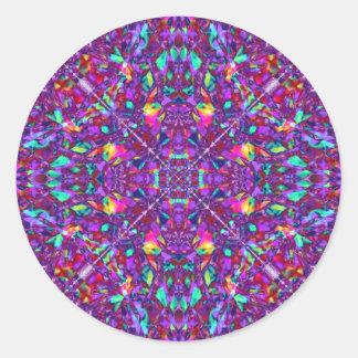 Modelo púrpura del Hippie de la mandala Pegatina Redonda