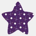 Modelo púrpura del lacrosse calcomanía forma de estrellae