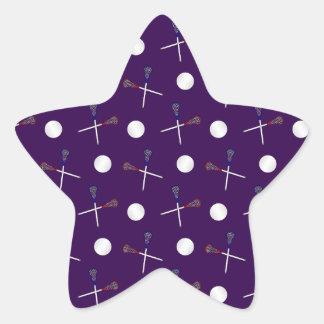 Modelo púrpura del lacrosse pegatina en forma de estrella