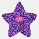 Modelo púrpura del leopardo del hipopótamo rosado pegatinas forma de estrella personalizadas