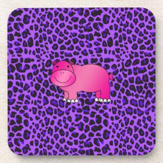 Modelo púrpura del leopardo del hipopótamo rosado  posavasos de bebidas