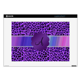 Modelo púrpura del leopardo del monograma calcomanías para 38,1cm portátiles