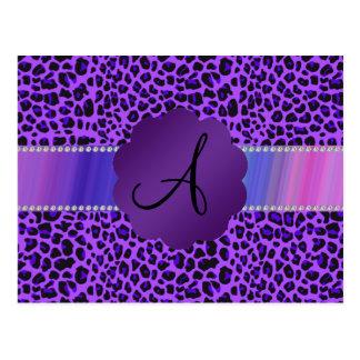 Modelo púrpura del leopardo del monograma postal