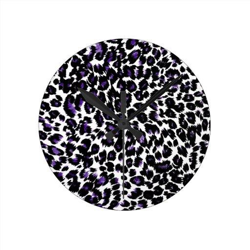 Modelo púrpura del leopardo relojes de pared