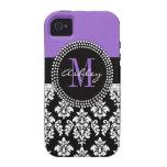 Modelo púrpura del monograma del damasco negro vibe iPhone 4 carcasa