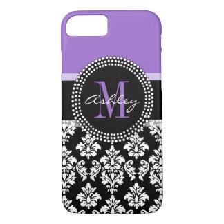 Modelo púrpura del monograma del damasco negro funda iPhone 7