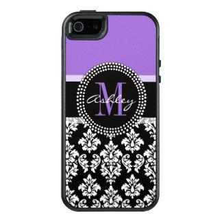 Modelo púrpura del monograma del damasco negro funda otterbox para iPhone 5/5s/SE
