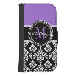 Modelo púrpura del monograma del damasco negro carteras para teléfono