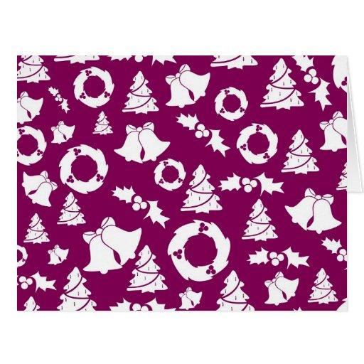 Modelo púrpura del navidad tarjeta de felicitación grande