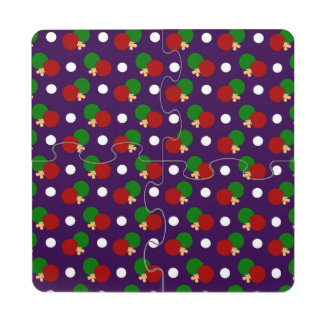 Modelo púrpura del ping-pong posavasos de puzzle