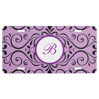 Modelo púrpura elegante del damasco del monograma placa de matrícula
