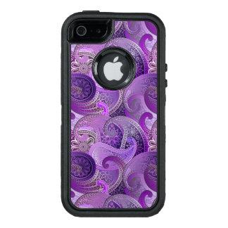 Modelo púrpura exótico de Paisley Boho Funda OtterBox Defender Para iPhone 5
