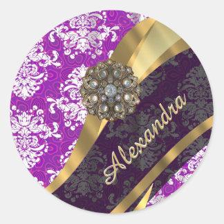 Modelo púrpura femenino bonito personalizado del pegatina redonda