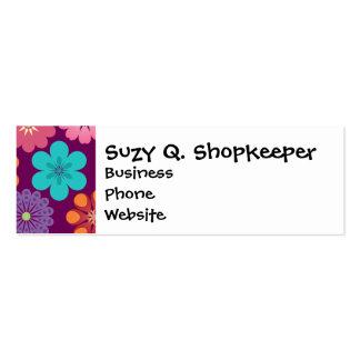 Modelo púrpura floral colorido del flower power tarjetas de visita mini