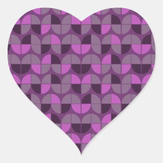 Modelo púrpura inconsútil elegante pegatina en forma de corazón