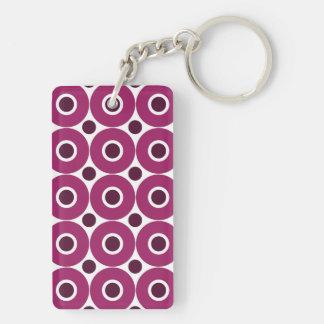 Modelo púrpura intrépido de los círculos llavero rectangular acrílico a doble cara