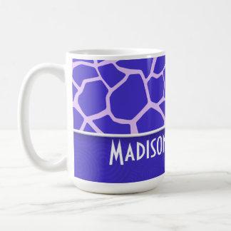 Modelo púrpura lindo de la jirafa taza de café