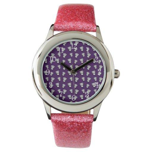 Modelo púrpura lindo de la panda reloj