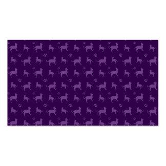 Modelo púrpura lindo de los gatos y de las patas tarjetas de negocios
