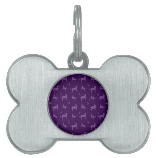 Modelo púrpura lindo de los gatos y de las patas placas de nombre de mascota