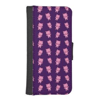 Modelo púrpura lindo del cerdo fundas tipo cartera para iPhone 5