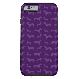 Modelo púrpura lindo del dachshund funda de iPhone 6 tough