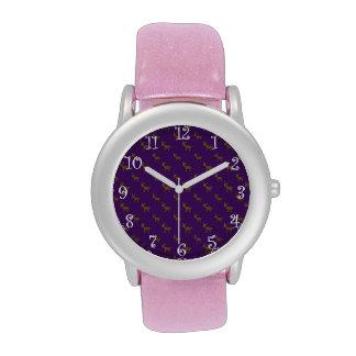 Modelo púrpura lindo del reno relojes de pulsera