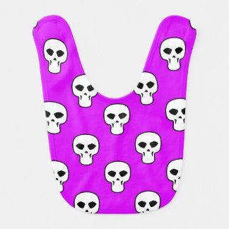 Modelo púrpura negro, blanco, de neón de los cráne baberos de bebé