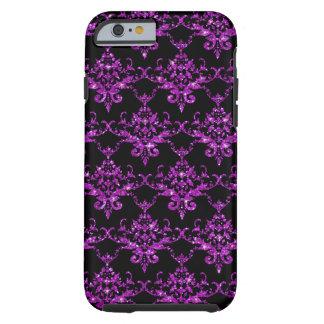 Modelo púrpura negro del damasco del brillo funda para iPhone 6 tough