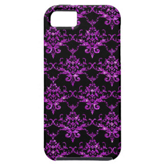 Modelo púrpura negro del damasco del brillo iPhone 5 fundas