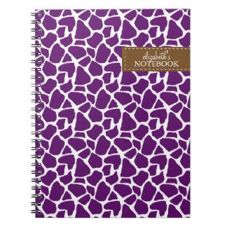 Modelo púrpura oscuro de la jirafa libros de apuntes con espiral