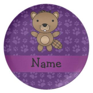 Modelo púrpura personalizado de la pata del castor plato para fiesta