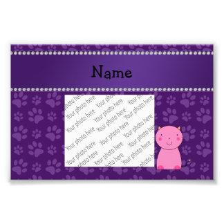 Modelo púrpura personalizado de la pata del gato c impresiones fotográficas
