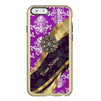 Modelo púrpura personalizado del damasco del funda para iPhone 6 plus incipio feather shine