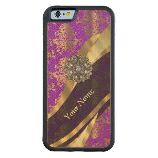 Modelo púrpura personalizado del damasco funda de iPhone 6 bumper arce