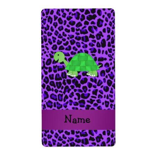 Modelo púrpura personalizado del leopardo de la to etiqueta de envío