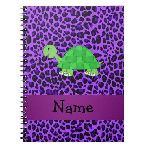 Modelo púrpura personalizado del leopardo de la to libro de apuntes con espiral