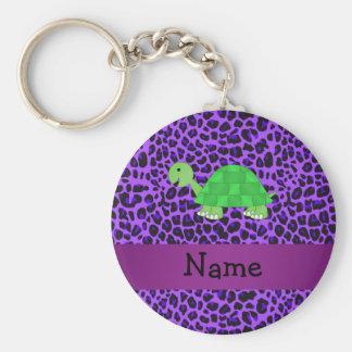 Modelo púrpura personalizado del leopardo de la to llavero redondo tipo pin