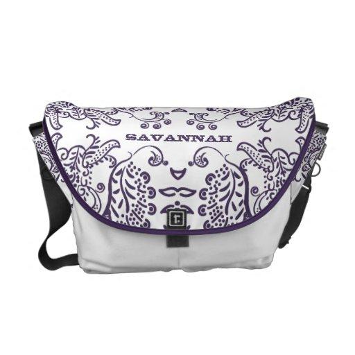 Modelo púrpura personalizado del pájaro del amor bolsas de mensajeria