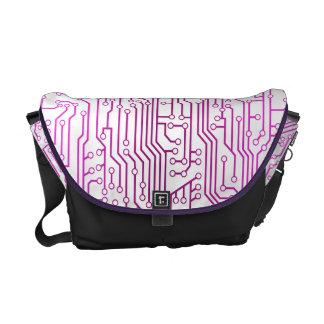 Modelo púrpura rosado de la placa de circuito bolsas messenger