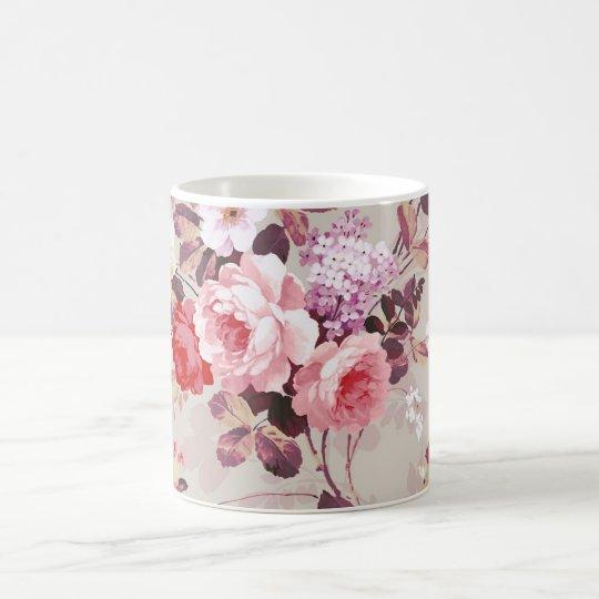 Modelo púrpura rosado elegante de los rosas del taza de café