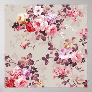 Modelo púrpura rosado elegante de los rosas del vi póster