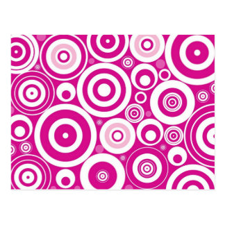Modelo púrpura rosado retro de los círculos tarjetas postales