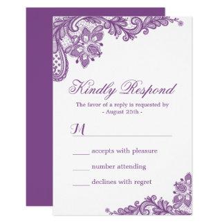 """Modelo púrpura RSVP del cordón de la lavanda Invitación 3.5"""" X 5"""""""