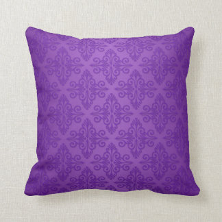 Modelo púrpura vibrante del damasco almohada