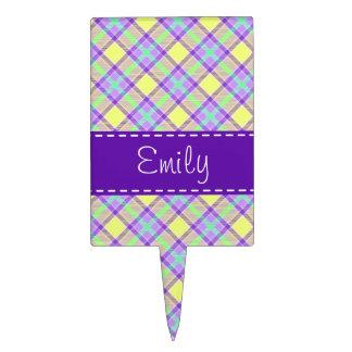 Modelo púrpura y amarillo de la tela escocesa figuras para tartas